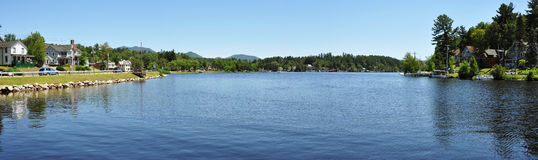 Lake Flower panorama in Saranac Lake, New York Royalty Free Stock Photo