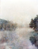 Lake and fog. Light impressionist lake and trees Royalty Free Stock Photo