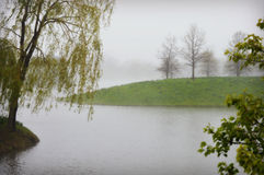 Lake with Fog and Mist Royalty Free Stock Photography