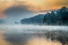 Lake with the fog at sunrise Royalty Free Stock Photos