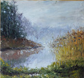 Lake in the fog, trees, reeds, oil painting Stock Photo