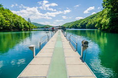 Lake fontana boats and ramp in great smoky mountains nc Royalty Free Stock Image