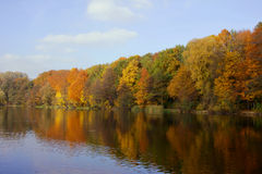 Lake and forest at autumn Stock Photos