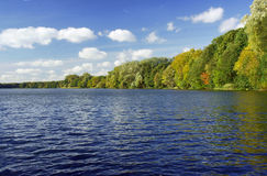 Lake and forest in the autumn Stock Photo