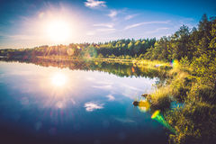 Lake and forest landscape Royalty Free Stock Images