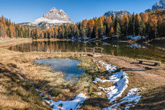 Lake with Forest and Mountain Stock Photography
