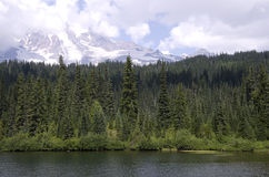 Lake forest mountain. Nice view of lake, forest and snow top mountain Stock Images