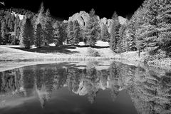 Lake in the forest with the mountains in background, Dolomites Stock Images