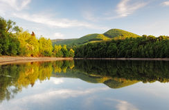 Lake with forest reflection, Ruzin dam, Slovakia.  Royalty Free Stock Photo