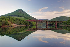 Lake with forest reflection, Ruzin dam, Slovakia.  Stock Photos
