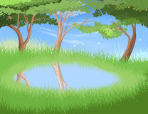 Lake in forest scene Royalty Free Stock Photo