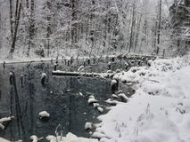 A lake in the forest with snow along the banks. Royalty Free Stock Photography