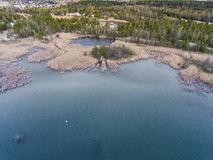 Lake and forest during spring time. View from above.Dabrowa Gorn Royalty Free Stock Photography