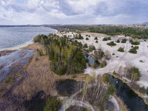 Lake and forest during spring time. View from above.Dabrowa Gorn Royalty Free Stock Photos