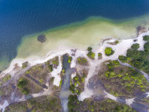 Lake and forest during spring time. View from above. Pogoria IV Royalty Free Stock Image