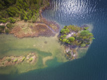 Lake and forest during spring time. View from above. Pogoria IV Royalty Free Stock Images