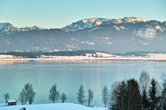 Alpine lake winter landscape Royalty Free Stock Photos