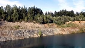 Lake formed by stone mining video A. stock video footage