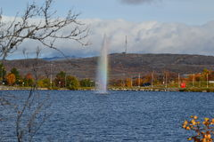 Lake and fountain. Lake in Kirkenes Norway summer day Stock Image