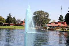 Lake with fountains and aquatic birds, Heritage Park, Synnyvale, California Royalty Free Stock Photography
