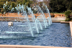 Lake with fountains and aquatic birds, Heritage Park, Synnyvale, California Stock Images