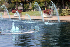 Lake with fountains and aquatic birds, Heritage Park, Synnyvale, California Royalty Free Stock Image