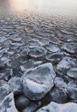 Lake freezing after frosty night Stock Photos