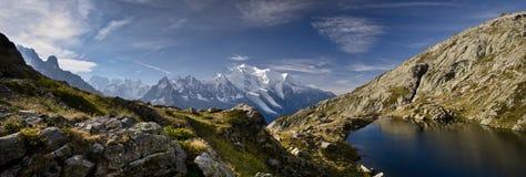Lake in the French Alps. Blue lake and mountain range of Tour de Mont Blanc near Chamonix, France Royalty Free Stock Photos