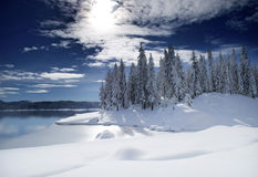 Lake with Fresh Snow Stock Photography