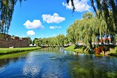 Lake in front of Fagaras fortress Stock Photography