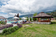 Lake Front Five Star Villa in Samosir Island. Private and beautiful lakefront villa property located in Samosir Island, North Sumatra - Indonesia with big pool Stock Images