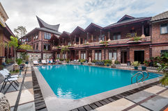 Lake Front Five Star Villa in Samosir Island. Private and beautiful lakefront villa property located in Samosir Island, North Sumatra - Indonesia with big pool Royalty Free Stock Photo
