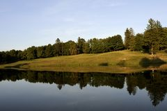 Lake in front of forest Royalty Free Stock Photo