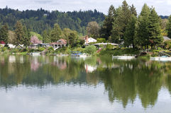 Lake front properties, Woodland WA. Lakefront properties spring colors, Woodland WA Stock Images