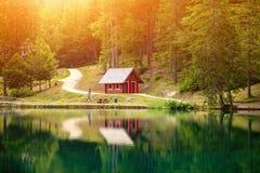Lake fusine during a beautiful sunset Royalty Free Stock Photography
