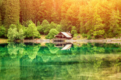 Lake fusine during a beautiful sunset Royalty Free Stock Image