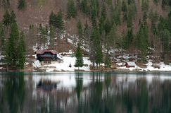 Lake of Fusine with the hut on the shore Stock Image