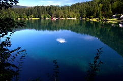 Lake of Fusine. The main lake of Fusine by the Alps in the Italian region of Friuli near the town of Tarvisio Stock Photo