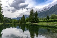 Lake Gaillands with a view of the Mont Blanc. Chamonix. France. Royalty Free Stock Photography