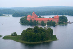 Lake Galve and Trakai castle Royalty Free Stock Images