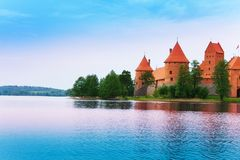 Lake Galve and Trakai castle walls Royalty Free Stock Images
