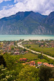 Lake Garda. In Italy, The river running into lake, valley of the river, mountain on a background Royalty Free Stock Images