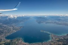 Lake Garda from the air. Lake Garda seen from an aircraft showing the full length of the lake stock photo