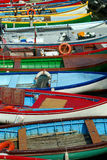 Lake Garda Boats. Fishing boats at rest in Lake Garda, Italy stock photos