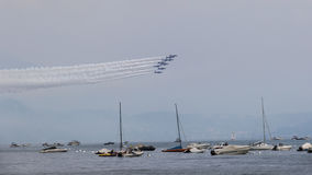 Lake Garda Brescia, Italy 20 August 2016. Try  performance acrobatic team Italian Frecce Tricolori national military aerona Royalty Free Stock Images