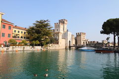 Lake Garda and castle, Italy Stock Images