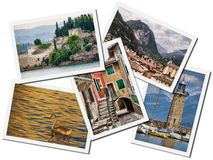 Lake Garda collage. Collage of Lake Garda postcards, isolated on white Royalty Free Stock Photos