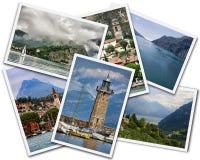 Lake Garda Collage. Collage of Lake Garda photographs depicting landmarks isolated on white background stock image
