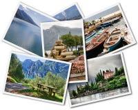 Lake Garda Collage. Collage of Lake Garda photographs depicting landmarks isolated on white background stock photos