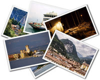 Lake Garda Collage. Collage of Lake Garda photographs depicting landmarks isolated on white background stock images